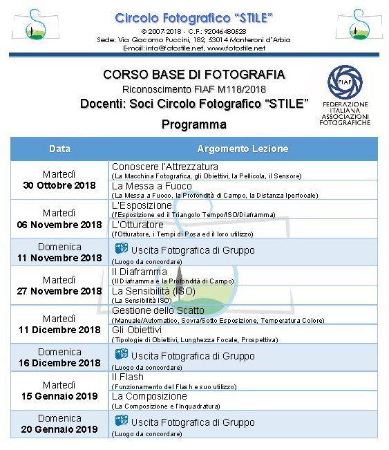 Corso Base Fotografia 2018-2019
